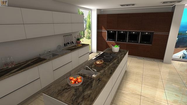 světlá kuchyně, návrh, ostrůvek